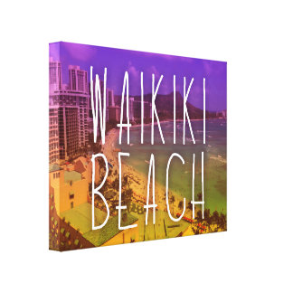 waikiki beach art canvas print