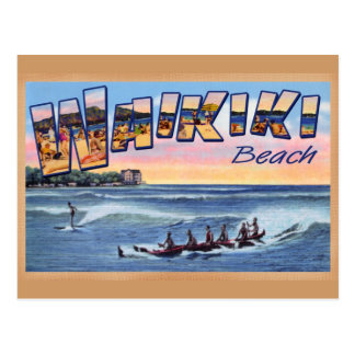 Waikiki Beach Club vintage postcard