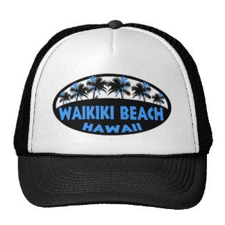 Waikiki Beach Hawaii blue black palms Trucker Hat