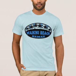 Waikiki Beach Hawaii blue black palms tshirt