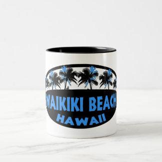 Waikiki Beach Hawaii blue black palms Two-Tone Coffee Mug