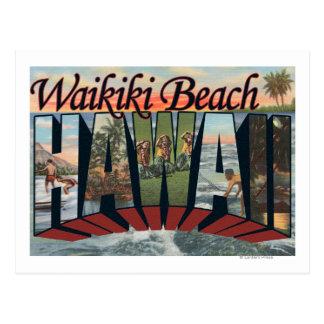 Waikiki Beach, Hawaii - Large Letter Scenes Postcard