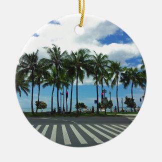 Waikiki Beach Hawaii Christmas Tree Ornament
