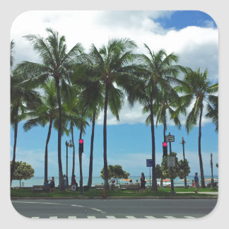 Waikiki Beach Hawaii Square Sticker
