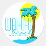 Waikiki Beach- Honolulu Classic Round Sticker