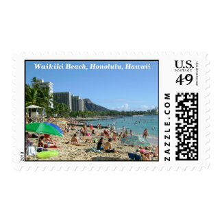 Waikiki Beach, Honolulu, Hawaii Postage Stamp