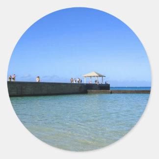 Waikiki Beach, Honolulu, Oahu, Hawaii, USA. Round Sticker