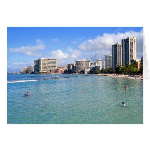 Waikiki Beach, Oahu, Hawaii Card