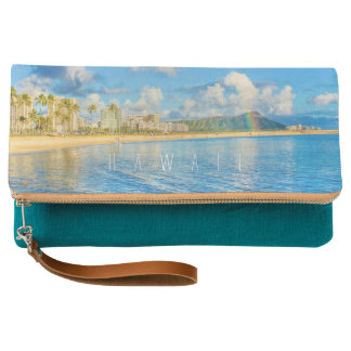 Waikiki Beach Rainbow Hawaiian Clutch