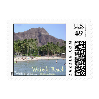 Waikiki Beach Sand Palm Trees Diamond Head Nice! Postage