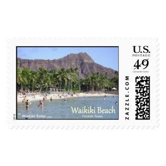 Waikiki Beach Sand Palm Trees Diamond Head Nice! Postage Stamps