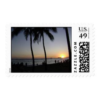 Waikiki Beach Sunset Blue Sky Palm Trees Sun HI Postage