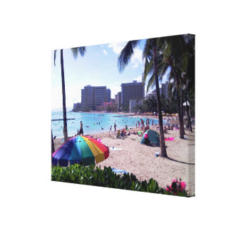 Waikiki Beach Wrapped Canvas