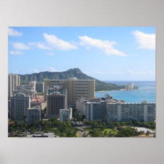 Waikiki de Hawaii y cabeza del diamante Póster
