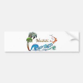 WAIKIKI de las palmas 3d, de las ondas y de la pue Etiqueta De Parachoque