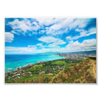 Waikiki, Hawaii from Top of Diamond Head Crater Photo Print