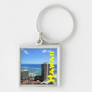 Waikiki, Hawaii Silver-Colored Square Keychain