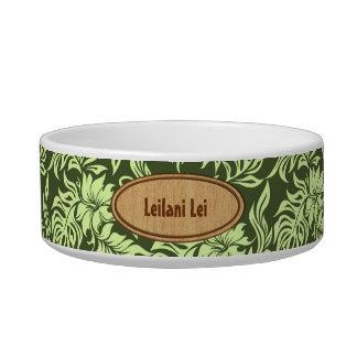 Waikiki Hibiscus Hawaiian Pet Bowls Cat Food Bowls