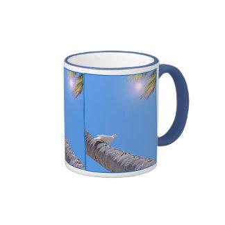 Waikiki Pigeon and Coconut Palms Ringer Coffee Mug