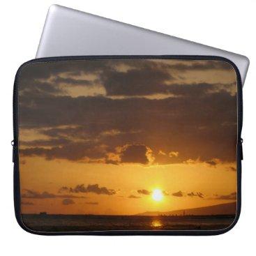 Beach Themed Waikiki Sunset Laptop Sleeve