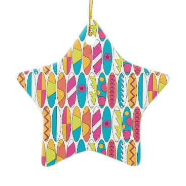 Beach Themed Waikiki Surfboards Ceramic Ornament