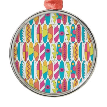 Beach Themed Waikiki Surfboards Metal Ornament