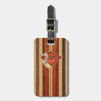 Waimea Surfboard Hawaiian Faux Wood Bag Tags