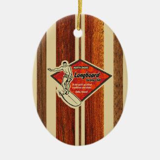 Waimea Surfboard Hawaiian Faux Wood Double-Sided Oval Ceramic Christmas Ornament