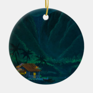 Wainiha Valley Home on a Starry Night Ceramic Ornament