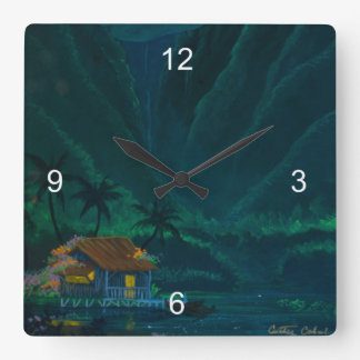 Wainiha Valley Home on a Starry Night Square Wall Clock