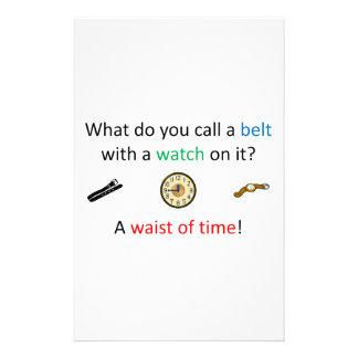 Waist of time joke stationery