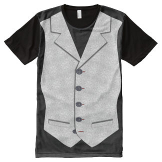 Waistcoat Image In Grey White Brocade Texture All-Over-Print Shirt