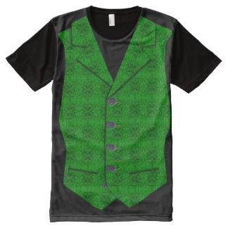 Waistcoat Image In Light and Dark Green Brocade All-Over-Print T-Shirt