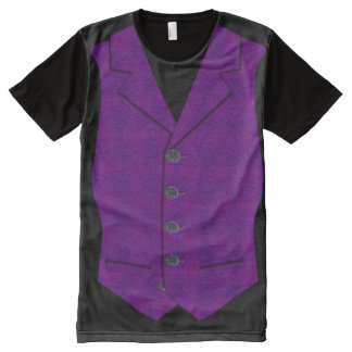 Waistcoat Image In Purple Brocade Effect All-Over-Print Shirt