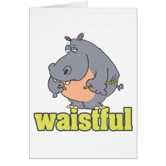 waistful diet hippo pun cartoon measuring waist cards