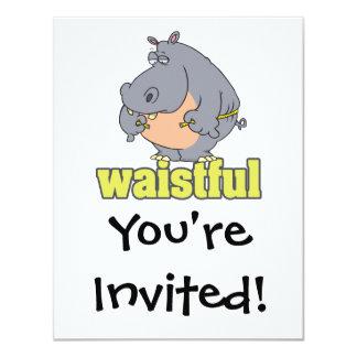 waistful diet hippo pun cartoon measuring waist personalized invites