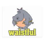 waistful diet hippo pun cartoon measuring waist postcards