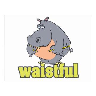 waistful diet hippo pun cartoon measuring waist postcard