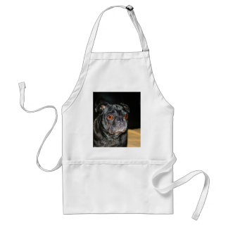 Wait for mom and love dog black pet pug animal adult apron