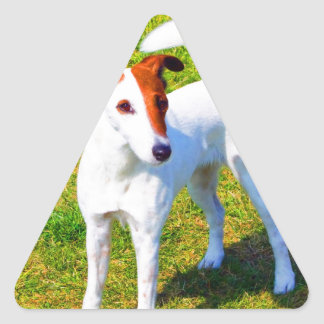 wait for mom love  smooth fox terrier triangle sticker