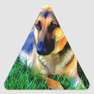Wait for you love german shepherd triangle sticker