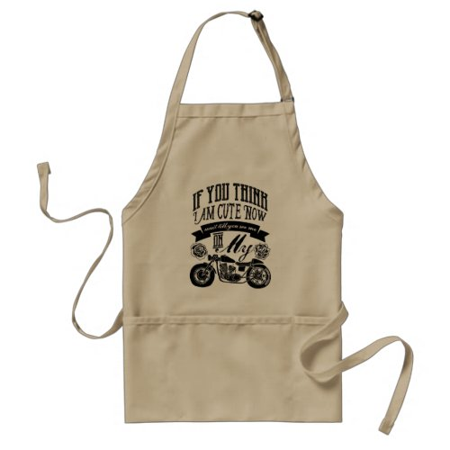 Wait Till You See Me On My Motorcycle Typography Adult Apron