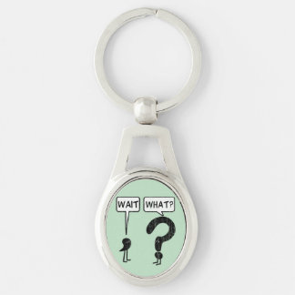 Wait, What? Silver-Colored Oval Metal Keychain