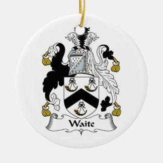 Waite Family Crest Ceramic Ornament