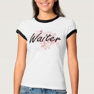 Waiter Artistic Job Design with Butterflies T-Shirt
