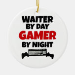 Waiter by Day Gamer by Night Double-Sided Ceramic Round Christmas Ornament