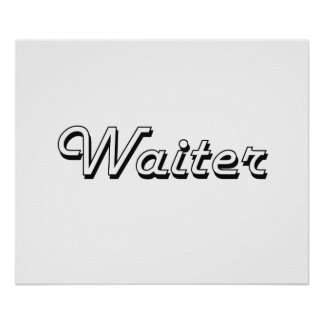 Waiter Classic Job Design Poster
