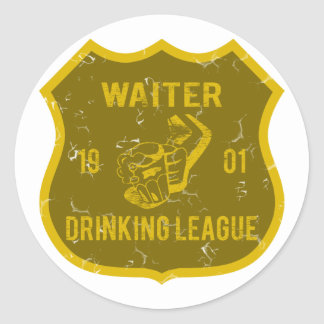 Waiter Drinking League Classic Round Sticker