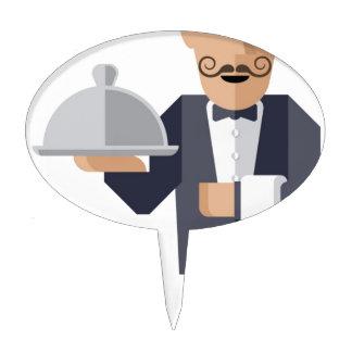 Waiter holding silver cloche cake topper