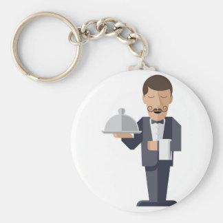 Waiter holding silver cloche basic round button keychain